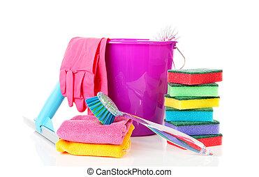 uitrusting, poetsen, kleurrijke