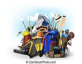 uitrusting, reizen, rugzakken, beklimming