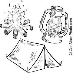 uitrusting, schets, kamperen