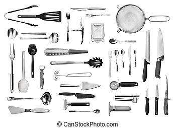 uitrusting, set, bestek, keuken