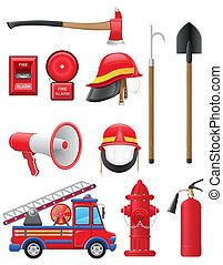 uitrusting, set, firefighting, iconen