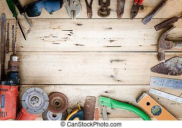 uitrusting, set, oud, hout, gereedschap