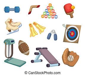 uitrusting, sporten, spotprent, iconen