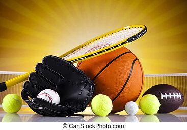 uitrusting, sportende, gelul