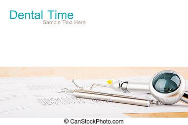 uitrusting, tandkundig gereedschap, tabel