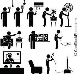 uitrusting, thuis, man, toestellen, gebruik