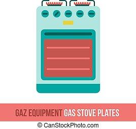uitrusting, vector, gas, pictogram, plat