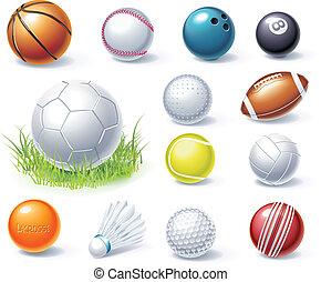 uitrusting, vector, sportende, iconen