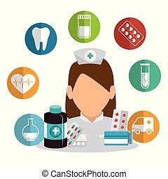 uitrusting, verpleegkundige, medisch