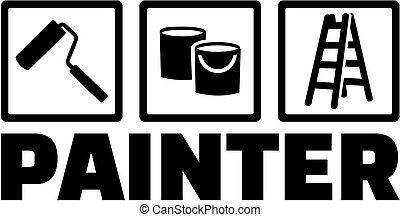 uitrusting, werk, schilder, titel