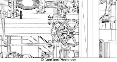 uitrusting, witte , industriebedrijven, wire-frame, achtergrond