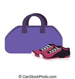 uitrusting, zak, gym, pictogram