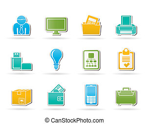 uitrusting, zakenkantoor, iconen