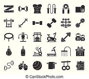 uitrusting, zulk, trampoline, klok, vast lichaam, gym, ketel, het stompen, geschiktheidstrainer, gym, bankje, grippers, elliptisch, pictogram, fiets, tredmolen, zak