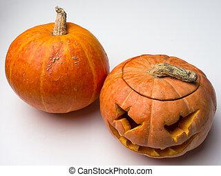 uitsnijden, lamp, dommekracht, en, een, geheel, pumpkin.