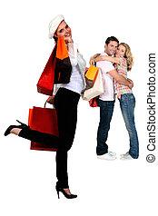 uitstapjes, mensen, shoppen , drie, terugkeren