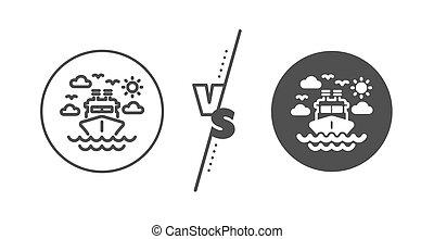 uitstapjes, vervoer reis, scheeps , icon., teken., lijn, vector