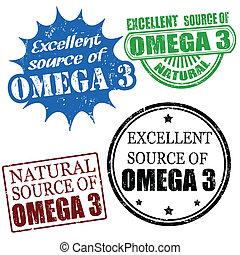 uitstekend, bron, van, omega3, postzegels