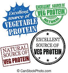 uitstekend, bron, van, plantaardige proteïne, postzegels