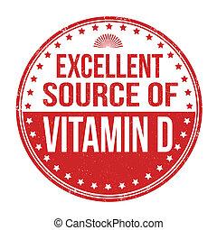 uitstekend, bron, van, vitamine d, postzegel
