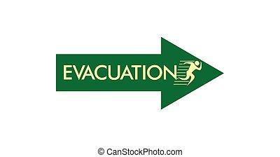 uitvoeren, evacuatie, meldingsbord, symbool, vector