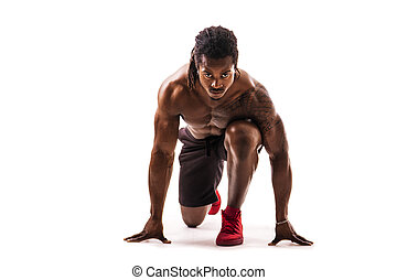 uitvoeren, gespierd, black , gereed, sprint, man