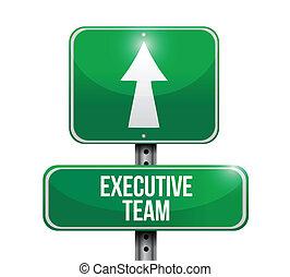 uitvoerend, illustratie, meldingsbord, ontwerp, team, straat