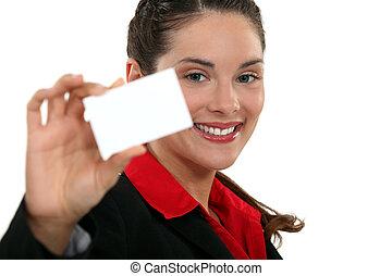 uitvoerend, met, een, leeg visitekaartje