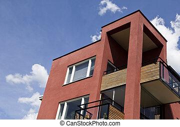 uitvoerend, moderne, flats
