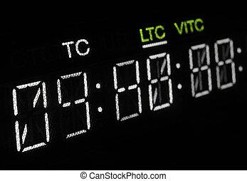 uitzenden, video, macro, shot-display, speler, timecode