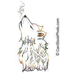 uive, Lobo, coloridos