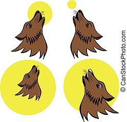 uive, símbolo, lobo