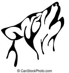 uive, vetorial, lobo, ilustração