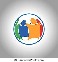 ujednolicony, grupa ludzi, razem