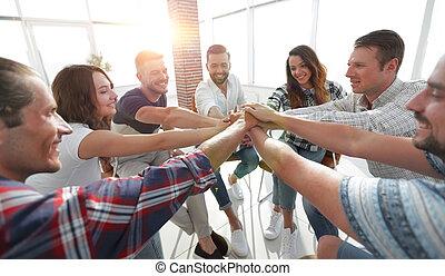 ujednolicony, handlowy, teamwork, team., pojęcie