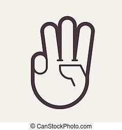 ujjak, feláll, gesztus, három