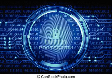 ujjlenyomat, és, adatok protection, képben látható, digitális, ellenző