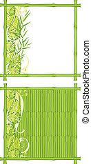 układa, bambus, zielony, dwa