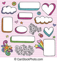 układa, doodle, brzegi, &, notatnik