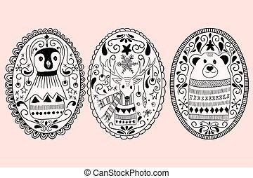 układa, doodle, wektor, zwierzęta, boże narodzenie
