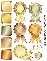 układa, komplet, srebro, brąz, złoty