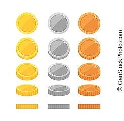 układa, płaski, ruch obrotowy, monety, rysunek