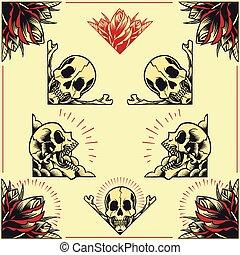 układa, róża, komplet, 01, czaszka