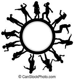 układa, sylwetka, dzieci, koło, taniec