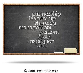 układa, tablica, zagadka, słowo, teamwork