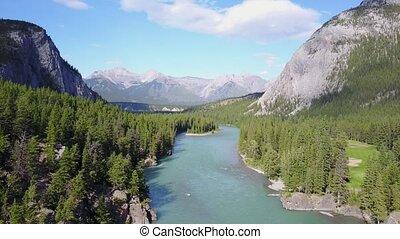 ukłońcie się rzeka, wśród, rockies, góry, w, banff rodak...