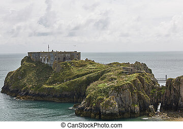 uk., 城堡, tenby, 威爾士