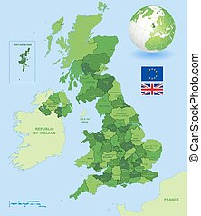 uk, administracyjny, zielona mapa, komplet