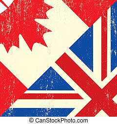 UK and canadian grunge flag