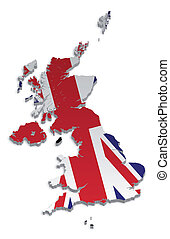 A simple 3D map of the UK and the Crown Dependencies.